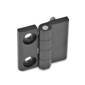 EN 237.1 Bisagras de tecnopolímero plástico, espárrago roscado o tipos combinados Tipo: E - 2 agujeros para tornillos de hueca / 2 espárragos roscados