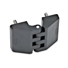 EN 155 Bisagras de tecnopolimero plástico Tipo: C - 2x2 espárragos roscados