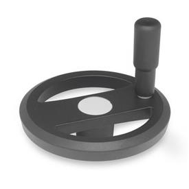 GN 924 Aluminum Flat-Faced Spoked Handwheels, with or without Revolving Handle Type: R - With revolving handle<br />Color: SW - Black, RAL 9005, textured finish