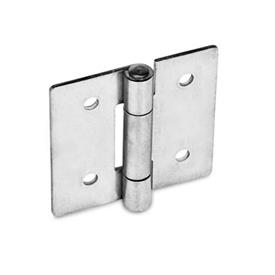GN 136 Bisagras de chapa metálica de acero inoxidable, extendido en cuadrado o verticalmente Material: NI - Acero inoxidable<br />Tipo: B - Con agujeros pasantes