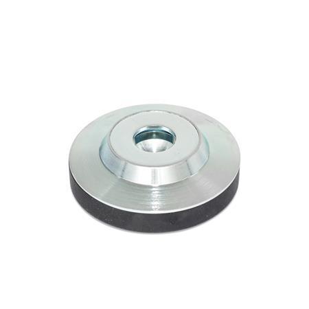 GN 6311.3 Almohadillas de empuje de acero, para tornillos prisioneros DIN 6332 o tornillos de apriete en T DIN 6304 / DIN 6306 Tipo: KR - Con tapón de caucho, no deslizable