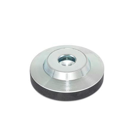 GN 6311.3 Steel Thrust Pads, for DIN 6332 Grub Screws or DIN 6304 / DIN 6306 Tommy Screws Type: KR - With rubber cap, non-skid