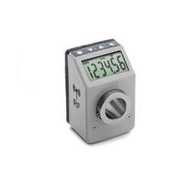 EN 9153 Indicadores de posición digitales de plástico tecnopolímero, electrónicos, con transmisión de datos por radiofrecuencia Color: GR - Gris, RAL 7035