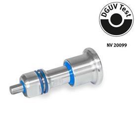 GN 8170 Posicionadores de indexado de acero inoxidable, diseño higiénico, con bloqueo y sin bloqueo, con contratuerca de sellado Tipo: B - Sin bloqueo<br />Identificación: VH - Con contratuerca de sellado, lado de la perilla y el pasador en diseño higiénico