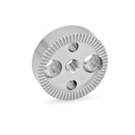 GN 187.4 Placas de bloqueo dentadas de acero inoxidable Tipo: A - Con agujero roscado d<sub>3</sub> en el centro, con dos agujeros avellanados para tornillos de cabeza