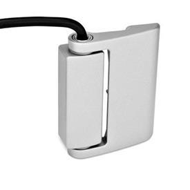 GN 139.1 Bisagras de zinc fundido a presión con función de interruptor eléctrico, con interruptor de seguridad, con cable conector Tipo: AK - Cable en la parte superior