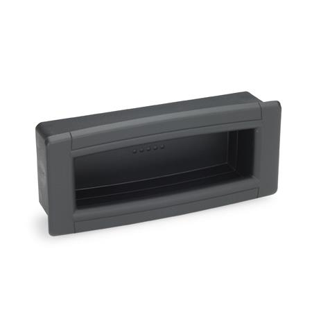 EN 739 Technopolymer Plastic Ergostyle® Gripping Trays, Screw-In Type Color: SG - Black-gray, RAL 7021, matte finish