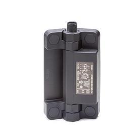 EN 239.6 Bisagras de plástico tecnopolímero con interruptor de seguridad integrado, con clavija conectora Tipo: AS - Conector en la parte superior