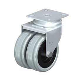LDA-VPA Rodajas giratorias de acero zincado con ruedas gemelas de caucho gris de servicio medio con placa de montaje Type: G - Cojinete liso