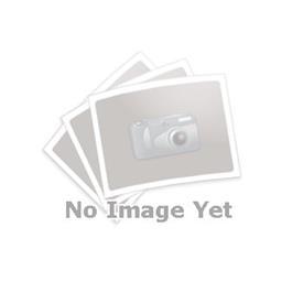 GN 927.4 Zinc fundido a presión manijas de sujeción con leva excéntrica, tipo espárrago roscado, con acero inoxidable componentes Tipo: A - Placa de contacto de plástico con tuerca de ajuste<br />Color: R - Rojo, RAL 3000