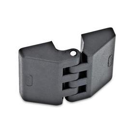 EN 155 Bisagras de plástico, diversos tipos de montaje Tipo: A - 2x2 orificios ciegos roscados