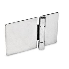 GN 136 Bisagras de chapa metálica de acero, con ala extendida Material: NI - Acero inoxidable<br />Tipo: A - Sin orificios