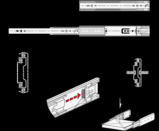 GN 1412 Guías telescópicas de acero, con extensión completa y mecanismo auto-abatible, capacidad de carga de hasta 96 lbf boceto