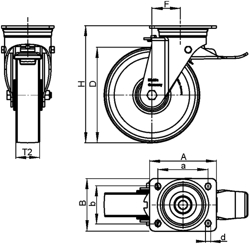 LS-GTH Steel Welded Construction Heavy Duty Extrathane® Treaded Swivel Casters, with Plate Mounting, Extra Strength Swivel Head Design Series sketch