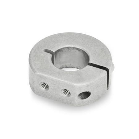 GN 7062.1 Collares de fijación semipartidos de acero inoxidable, con agujeros roscados con extensión Tipo: A - Agujeros roscados por extensión radial