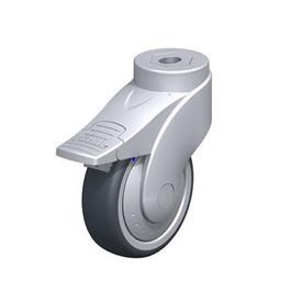 LWGX-TPA Rodajas giratorias de nylon plastificado sintético WAVE, con ruedas de caucho termoplástico y ajuste con agujero para perno, componentes de acero inoxidable Type: XK-FI-FK
