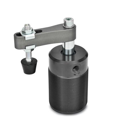 GN 876 Aluminum Pneumatic Swing Clamps, Threaded Body Style Type: AC - Clamping arm with slotted hole, with two flanged washers and GN 708.1 spindle assembly