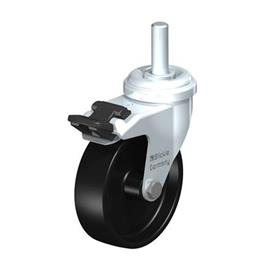 LRA-POA Steel Black Nylon Wheel Swivel Casters with Bolt Hole Mounting or Threaded Stem, Standard Bracket Series Type: G-FI-GS - Plain Bearing with Stop-Fix, Threaded Stem