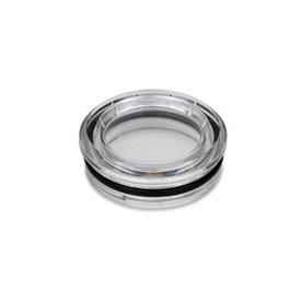 EN 542 Mirillas de nivel de líquido de plástico tecnopolimero con ajuste a presión Tipo: B - Sin reflector