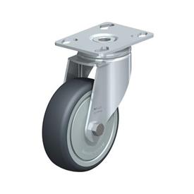 LKPA-TPA Steel Light Duty Swivel Casters, with Thermoplastic Rubber Wheels and Heavy Brackets Type: K-FK - Ball Bearing with Thread Guard