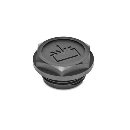 EN 747.2 Plastic Oil Fill Plugs, with Recessed Seal Air vent drilling: 1 - without vent drilling
