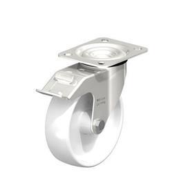 LEX-PO Rodajas giratorias de acero inoxidable con rueda de nylon, con placa de montaje, serie de soportes de servicio medio Type: G-FI - Cojinete liso con freno «stop-fix»