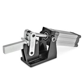 GN 861 Steel Heavy Duty Pneumatic Toggle Clamps, with Horizontal Mounting Base, with Magnetic Piston
