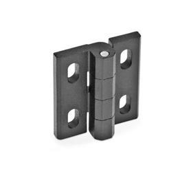 GN 235 Bisagras de zinc fundido a presión, ajustables Material: ZD - Zinc fundido a presión<br />Tipo: H - Ajustable horizontalmente<br />Acabado: SW - Negro, RAL 9005, acabado texturizado