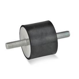 GN 351 Soportes aisladores de vibración, de tipo cilíndrico, con componentes de acero Tipo: SS - Con 2 tornillos