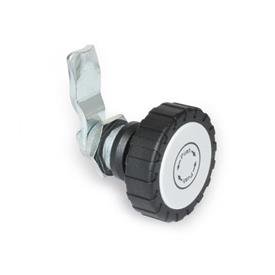 GN 115.9 Zinc Die-Cast Safety Cam Latches, Powder Coated Locating Ring, with Operating Elements Tipo: RG - Funcionamiento con perilla moleteada GN 7336