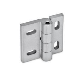 GN 235 Bisagras de zinc fundido a presión, ajustables Material: ZD - Zinc fundido a presión<br />Tipo: HB - ajustable vertical y/u horizontalmente<br />Acabado: SR - Plateado, RAL 9006, acabado texturizado