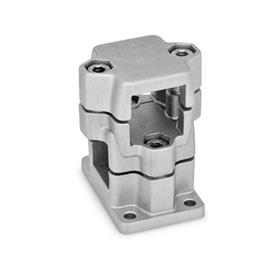 GN 141 Abrazaderas para conectores de dos vías con bridas, aluminio, montaje multipiezas, tipo orificio redondo o cuadrado   Acabado: BL - Sin troquelar