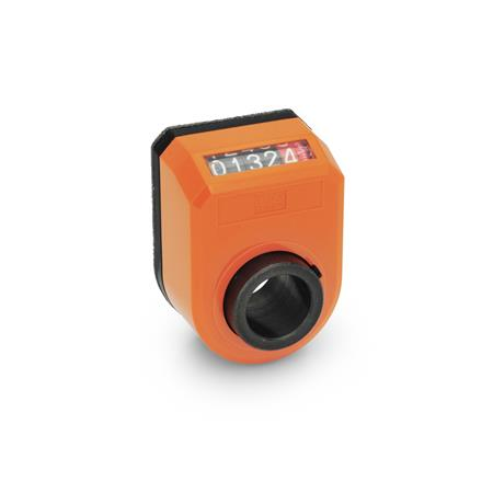 EN 953 Technopolymer Plastic Digital Position Indicators, 5 Digit Display Installation (Front view): AN - On the chamfer, above Color: OR - Orange, RAL 2004