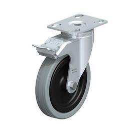 LKPA-VPA Rodajas giratorias de acero zincado con ruedas de caucho gris de servicio medio, serie de soportes pesados  Type: G-FI - Cojinete liso con freno «stop-fix»