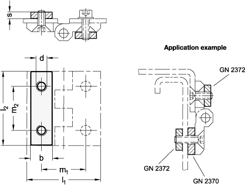 GN 2372 Placas separadoras con agujeros roscados de acero inoxidable, para bisagras GN 237, GN 237.1, GN 337 y GN 337.1 boceto