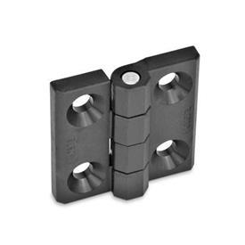 EN 237.1 Bisagras de tecnopolímero plástico, espárrago roscado o tipos combinados Tipo: A - 2x2 orificios para tornillos avellanados