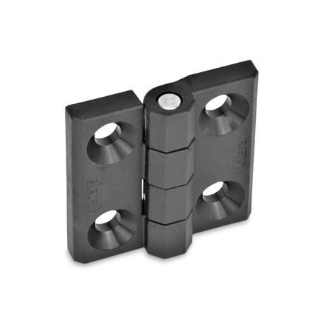 EN 237.1 Technopolymer Plastic Hinges, Threaded Stud or Combination Types Type: A - 2x2 bores for countersunk screws