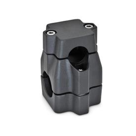 GN 135 Aluminum Two-way connector clamps, multi part assembly, unequal bore dimensions Bore d<sub>1</sub>: B 30<br />Finish: SW - Black, RAL 9005, textured finish