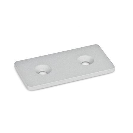 GN 967 Soportes de conexión planos y en L, medidas métricas, acero, para sistemas de perfiles de aluminio Tipo: F - Grillete Acabado: SR - Plateado, RAL 9006, acabado texturizado Identificación núm.: 1 - con orificio para tornillos avellanados DIN 7991