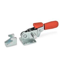 GN 851.3 Abrazaderas de palanca de tipo pestillo horizontal de acero, con gancho de seguridad y base de montaje horizontal   Tipo: T - Sin pestillo de tracción, con soporte de cierre<br />Material: ST - Acero