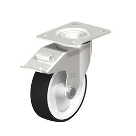 LEX-POTH Stainless Steel Swivel Caster with Polyurethane Treaded Wheel, with Plate Mounting Type: G-FI - Plain Bearing with Stop-Fix Brake