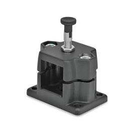 GN 147.7 Aluminum Flanged Connector Clamps, with Locating Option Type: R - With indexing plunger<br />Color: SW - Black, RAL 9005, textured finish