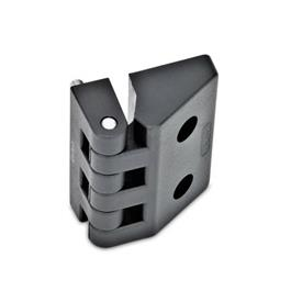 EN 154 Bisagras de tecnopolimero plástico Tipo: F - 2 espárragos roscados / 2 orificios para tornillos de cabeza hueca