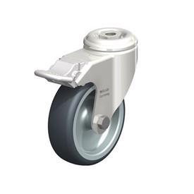 LKRXA-TPA Rodajas giratorias de acero inoxidable de servicio ligero, con ruedas de caucho termoplástico y ajuste con agujero para perno, serie de soportes pesados  Type: G-FI - Cojinete liso con freno «stop-fix»