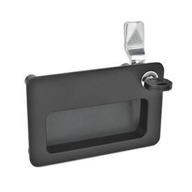 GN 115.10 Zinc Die-Cast Locks, with Gripping Tray Tipo: SC - Funcionamiento con llave (misma cerradura)<br />Acabado: SW - Negro, RAL 9005, acabado texturizado<br />Identificación núm.: 2 - Funcionamiento, en la posición dibujada, en la parte superior derecha