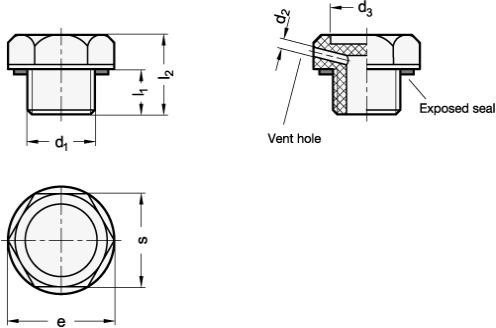 EN 745 Tapones roscados de plástico, con sellado plano boceto