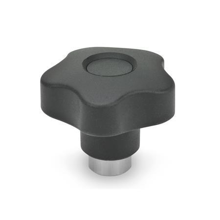 GN 5337.3 Perillas de cinco lóbulos de seguridad de plástico tecnopolímero, con inserto roscado, presione para enganchar Material: NI - Acero inoxidable