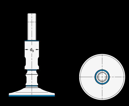 GN 20 Pies de nivelación con diseño higiénico de acero oxidable, sin orificios de montaje boceto