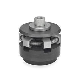 GN 411.2 Dispositivos de bloqueo circular de acero, con bolas esféricas o segmentos de sujeción que no se rayan Tipo: S - con segmentos de sujeción