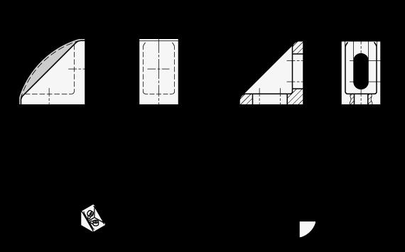 EN 561 Escuadras de montaje, plástico tecnopolímero, medidas métricas, tipo A boceto